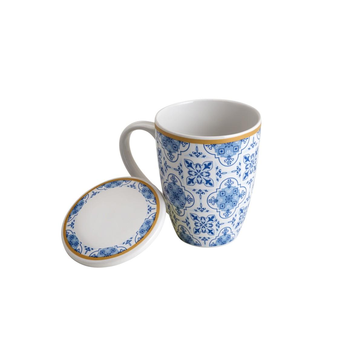 Caneca De Porcelana C/ Tampa E Filtro Lisboa Azul E Branca Lyor