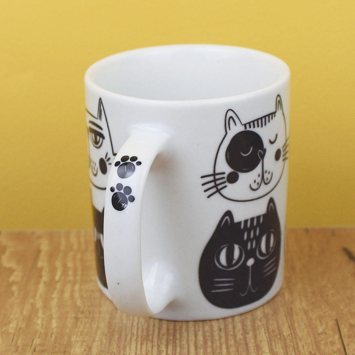 Caneca de Porcelana Criativa Mãe de Gato 300ML