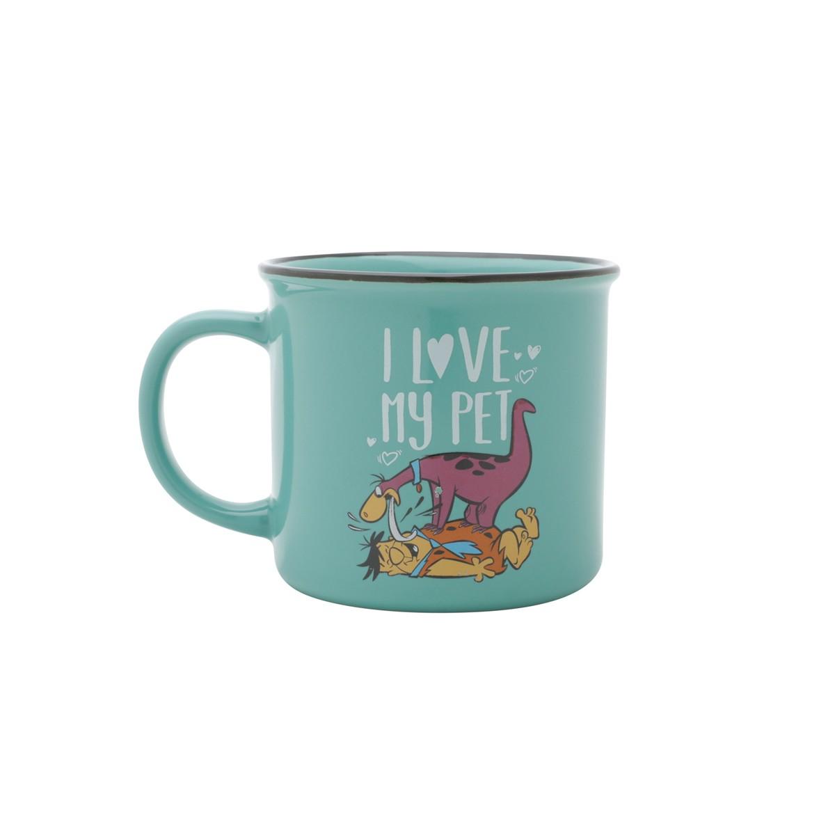Caneca De Porcelana Flintstones I Love My Pet 380ml Urban