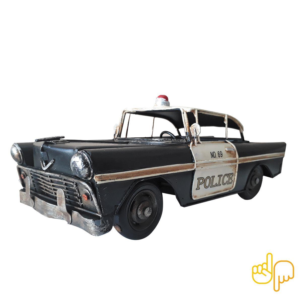 Carro de Metal Retro Cadillac Polícia Vintage Rústico 1969