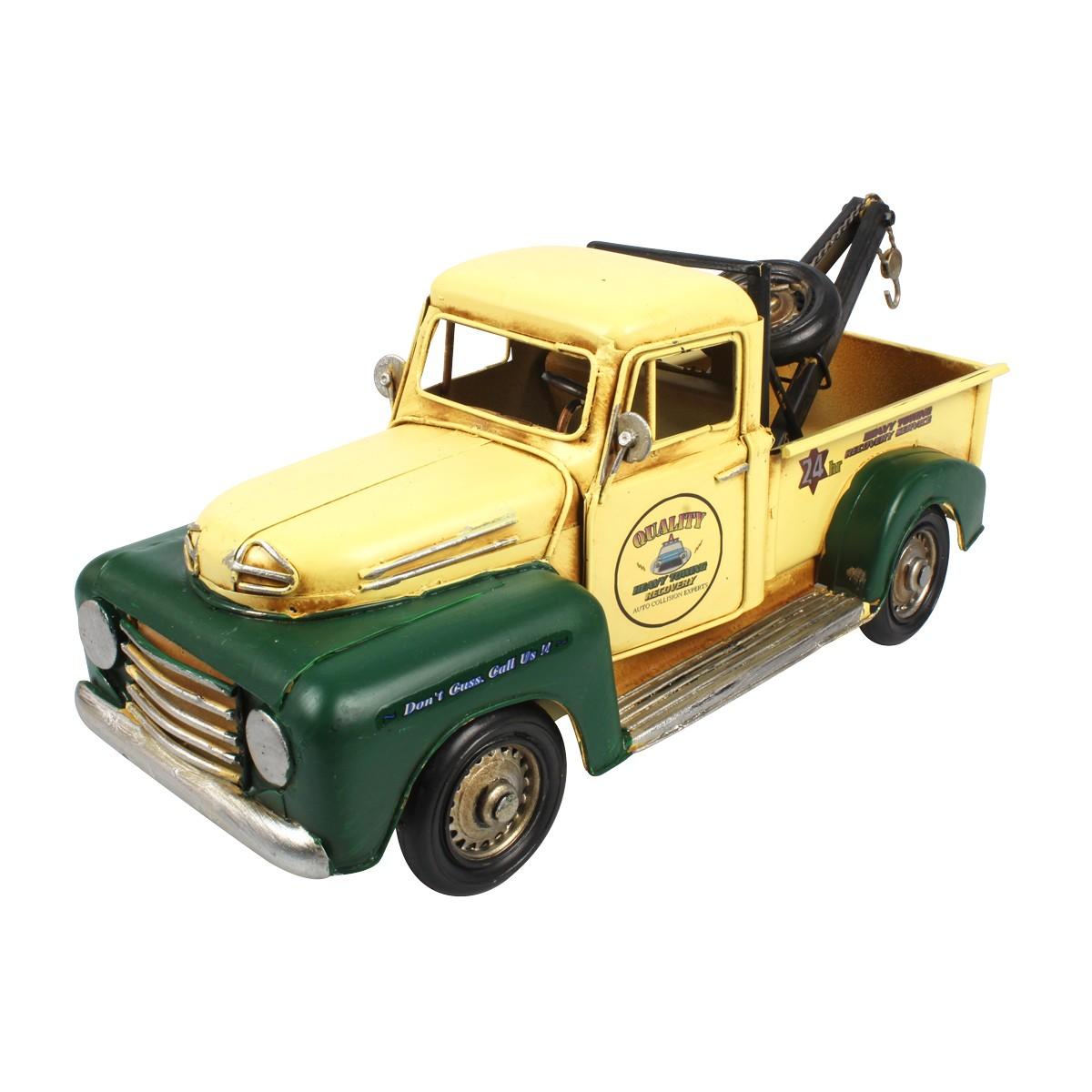 Carro de Metal Retrô Guincho Quality Verde E Amarelo