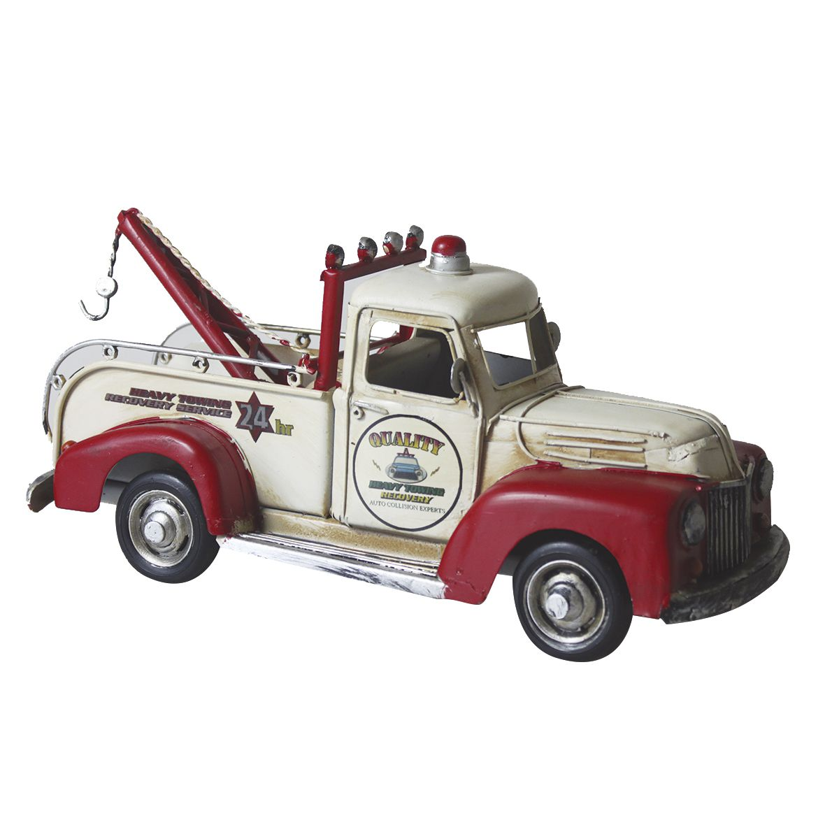 Carro de Metal Retrô - Guincho Vermelho e Branco Quality 24hr