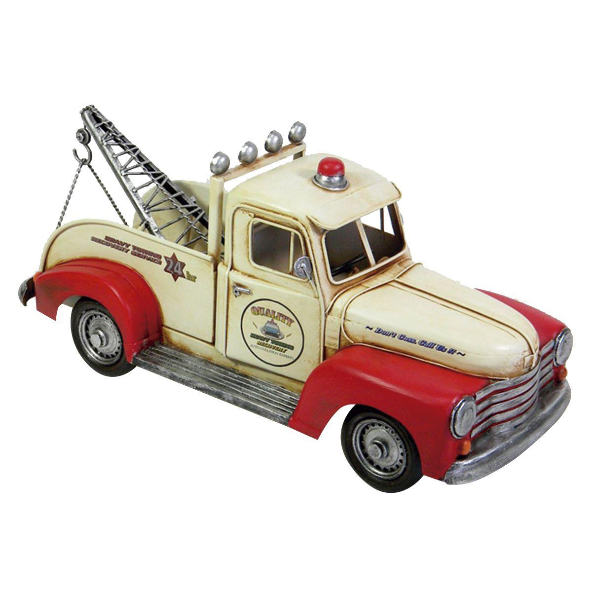 Carro de Metal Retrô - Guincho Vermelho e Branco Quality 24hr II