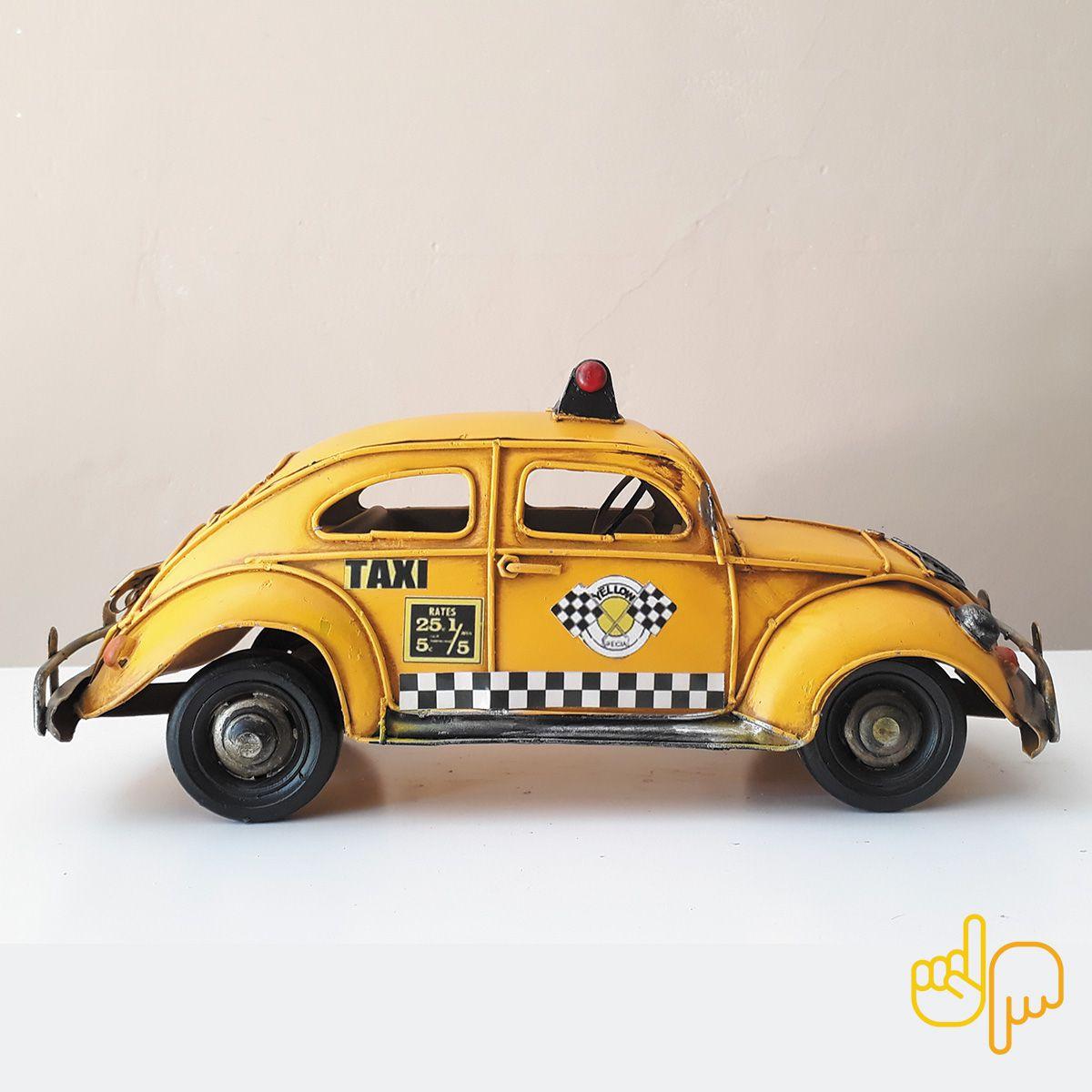 Carro de Metal Retro Volkswagen 1964 Fusca Taxi