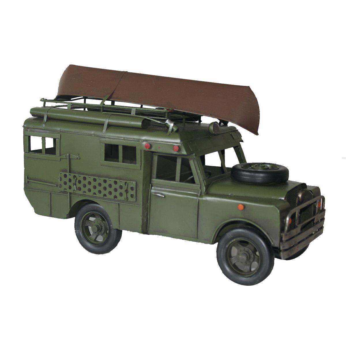Colecionável Carro de Metal Militar c/Canoa Retrô