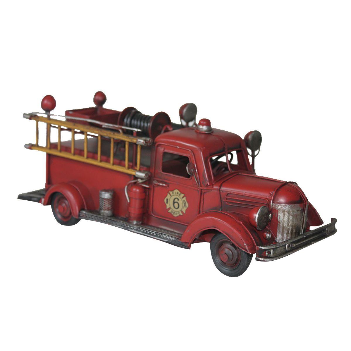 Colecionável de Metal Caminhão Bombeiro Fire Retrô Vermelho