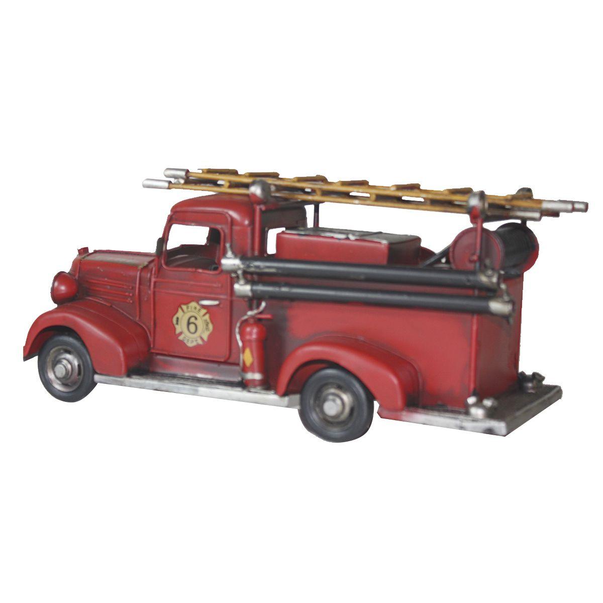 Colecionável de Metal Caminhão Bombeiro Fire Retrô Vermelho II