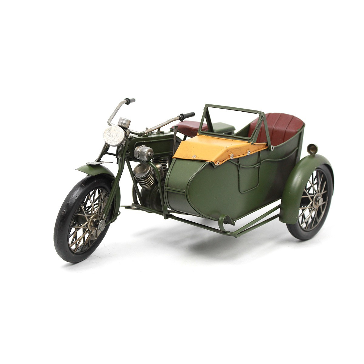 Colecionável de Metal Moto Exército Retrô C/ Sidecar