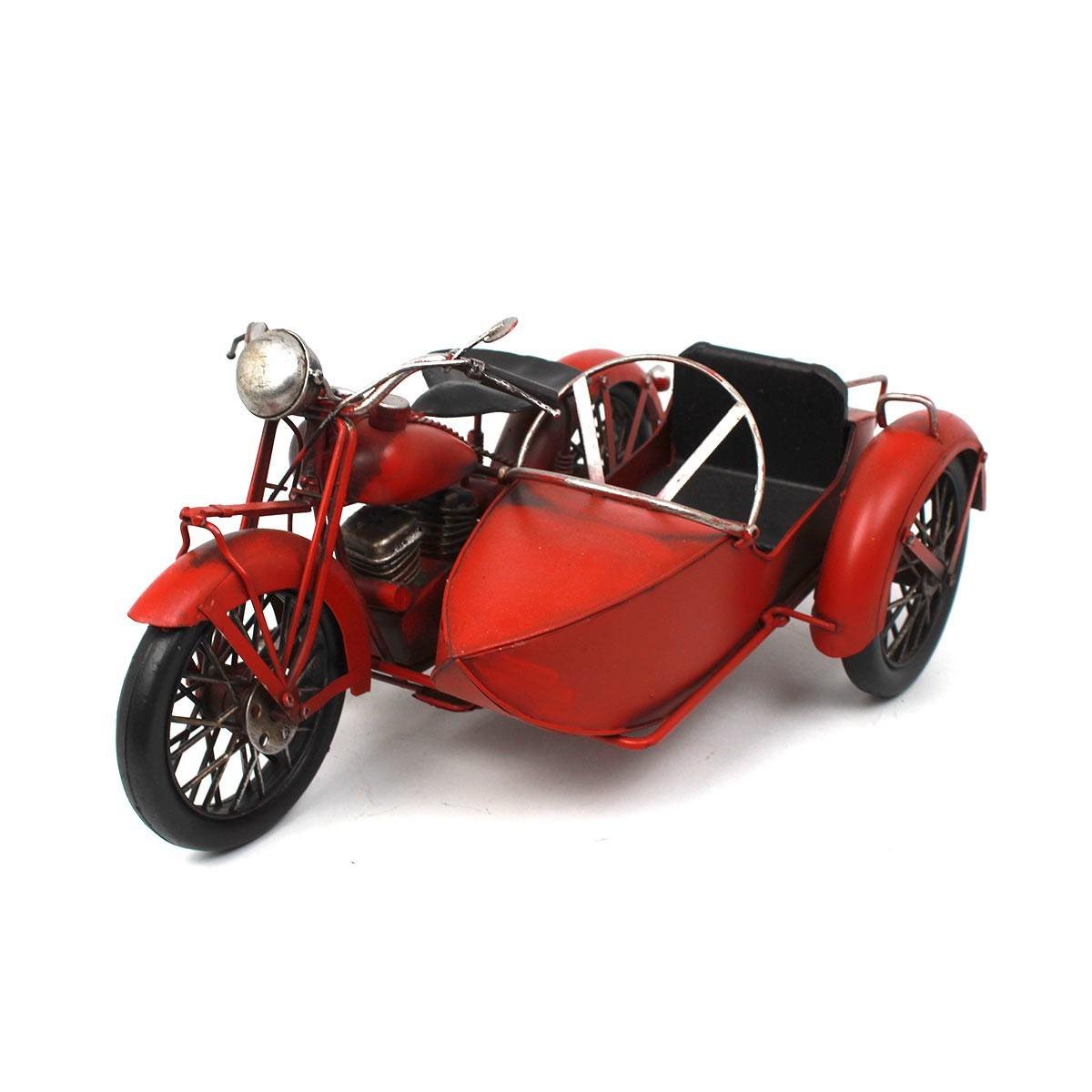Colecionável de Metal Moto Harley Davidson UHL 1937 c/ Sidecar