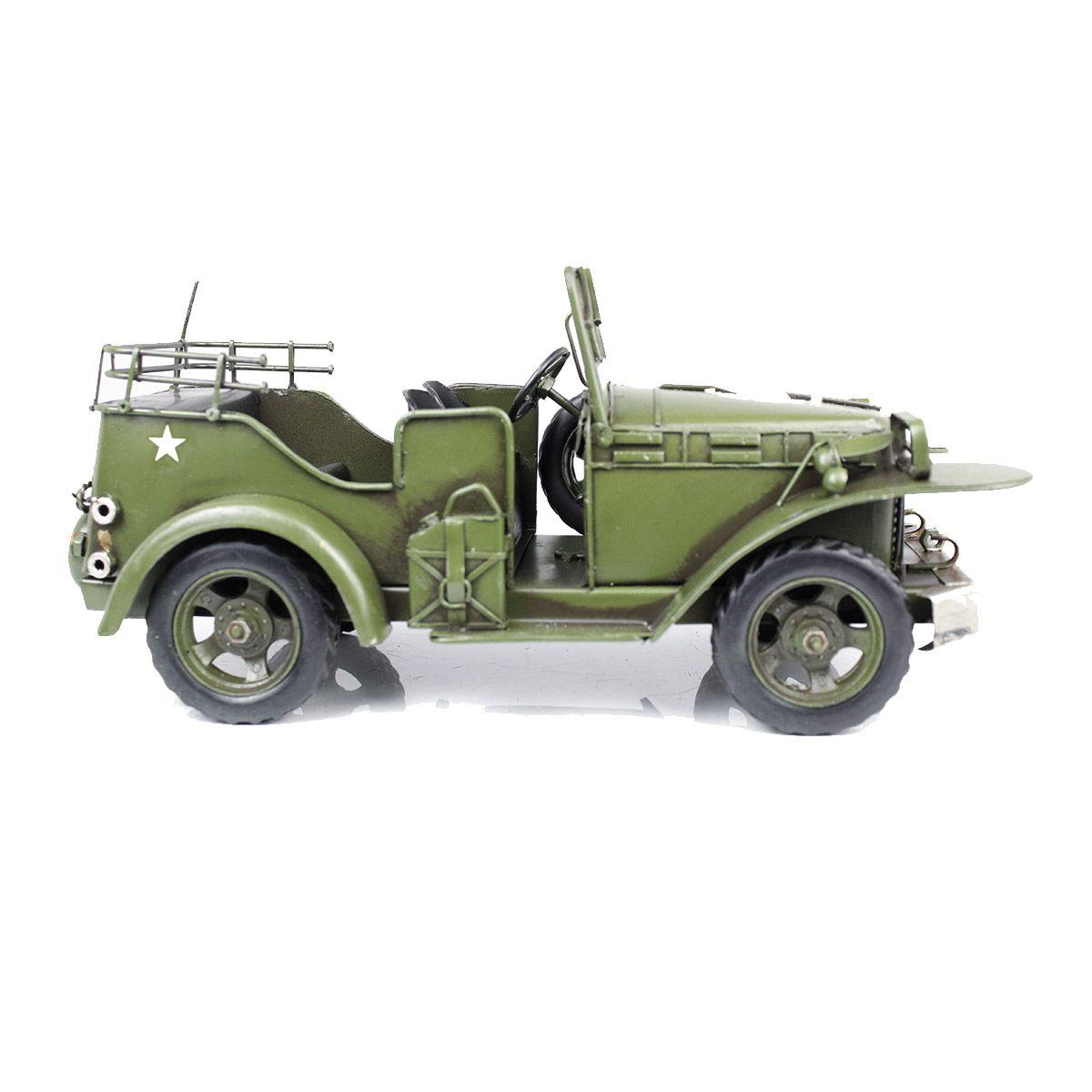 Colecionável Jeep Militar de Metal Verde 31cm Estilo Retrô