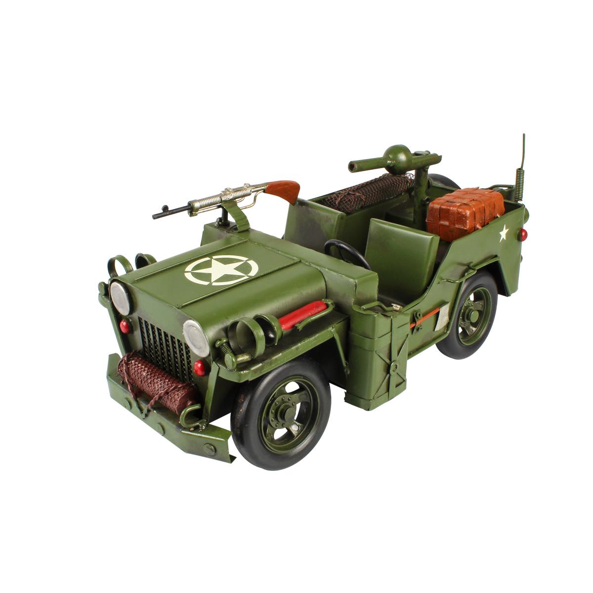 Colecionável Jeep Militar de Metal Verde Arm 31cm Estilo Retrô