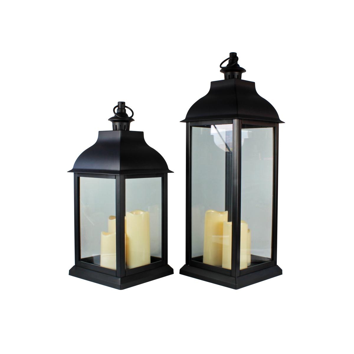 Conj. C/ 2 Lanternas Marroquinas Decorativas C/ Velas LED Pretas