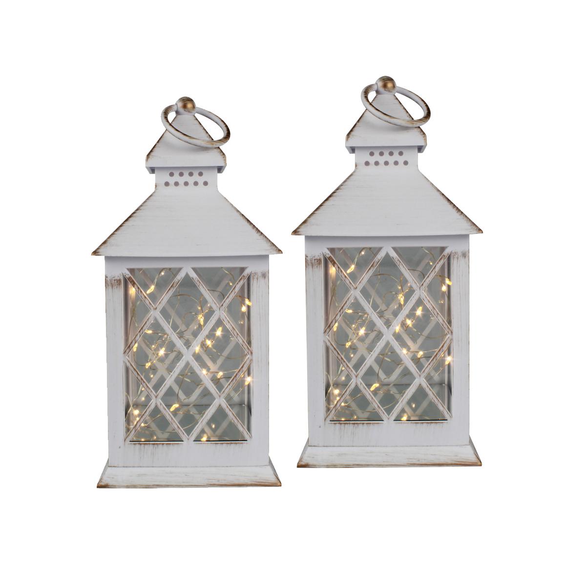 Conj. C/ 2 Lanternas Marroquinas Decorativas LED Brancas 27cm Verito