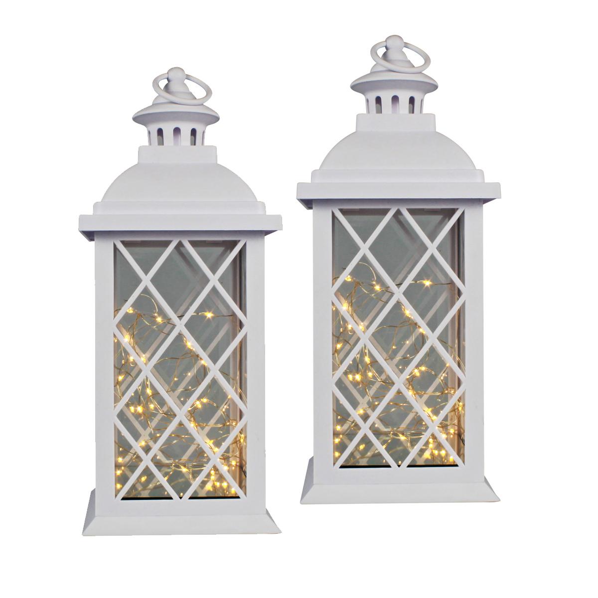 Conj. C/ 2 Lanternas Marroquinas Decorativas LED Brancas 37cm