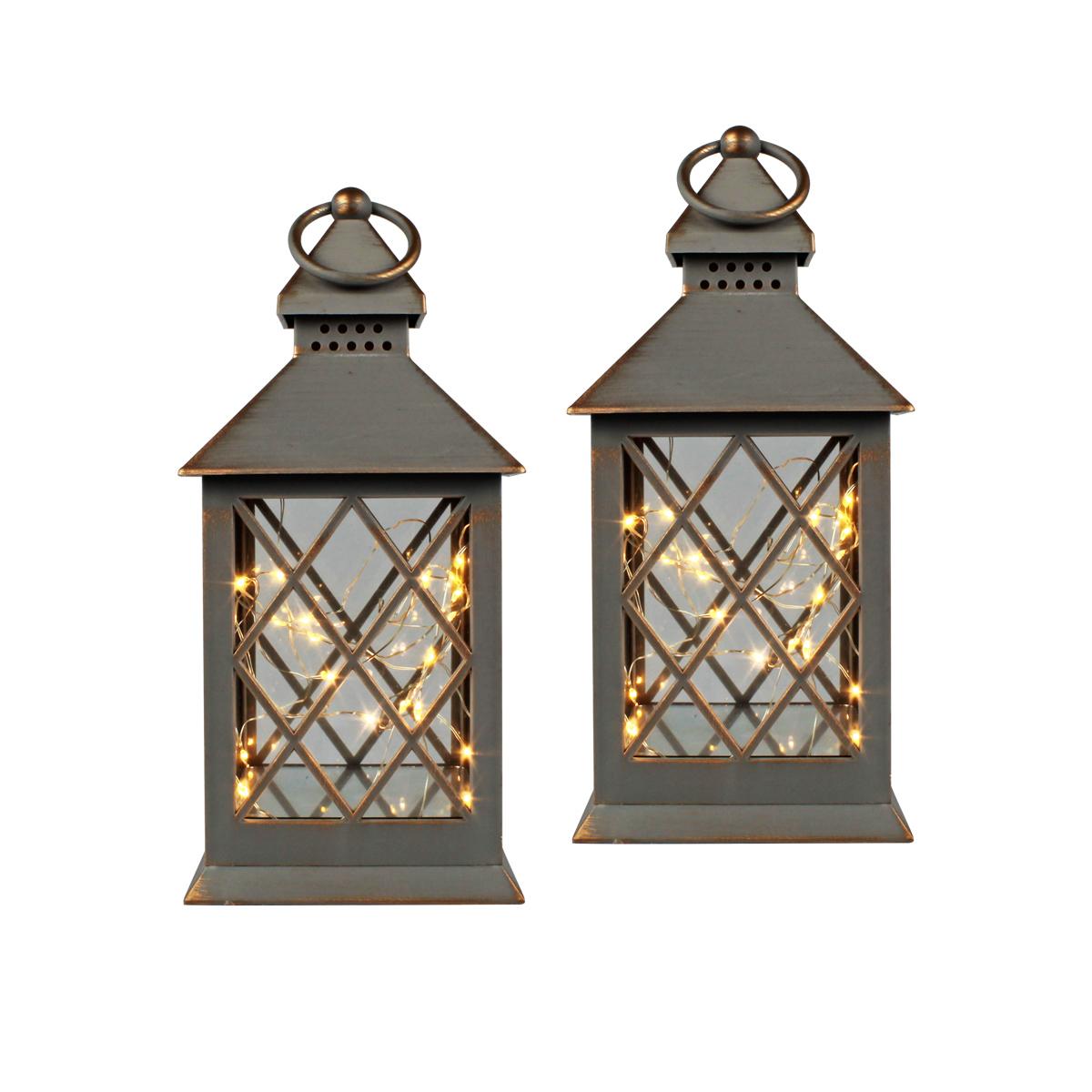 Conj. C/ 2 Lanternas Marroquinas Decorativas LED Cinzas 27cm Verito