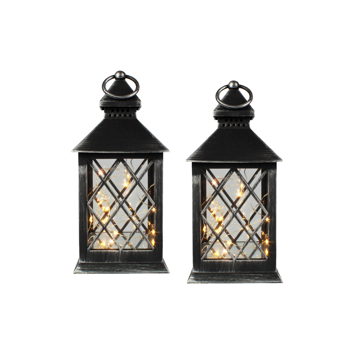 Conj. C/ 2 Lanternas Marroquinas Decorativas LED Pretas 27cm Verito