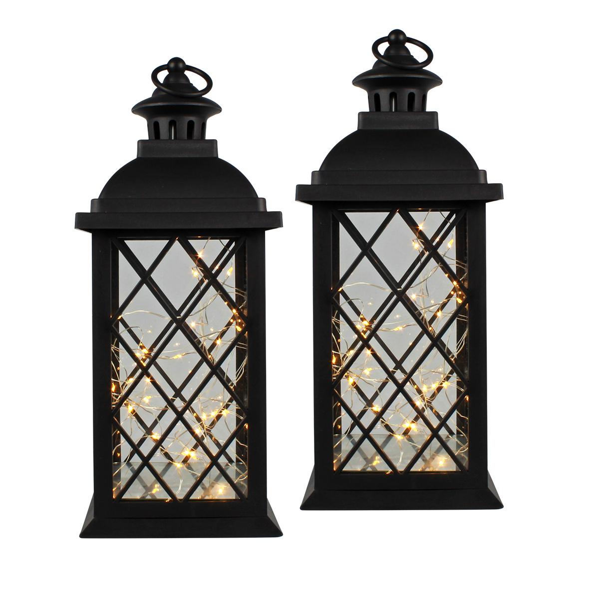 Conj. C/ 2 Lanternas Marroquinas Decorativas LED Pretas 37cm