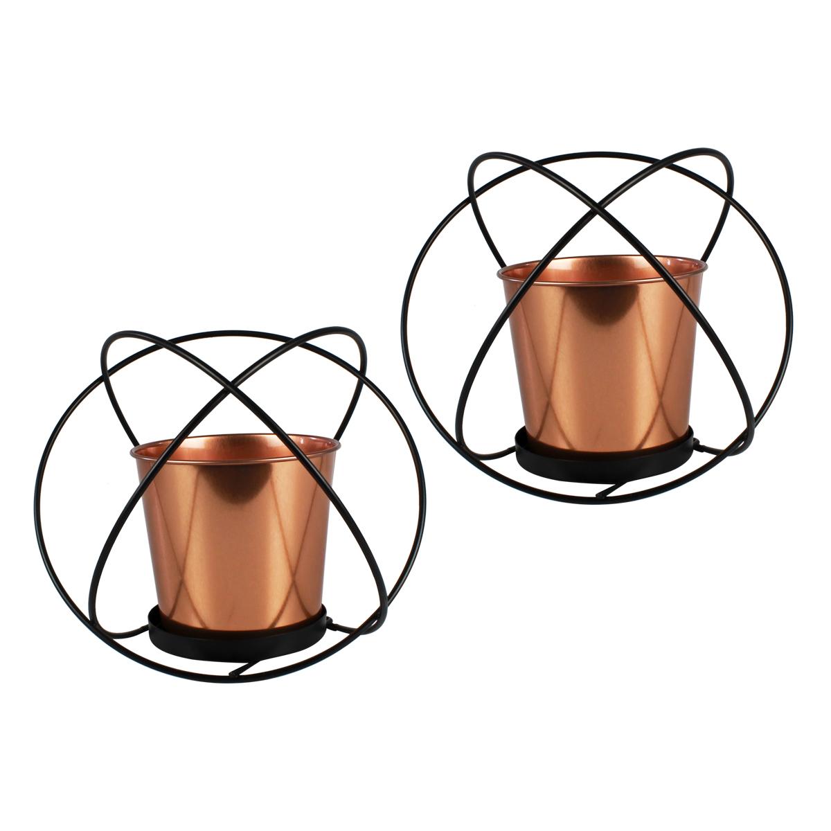 Conj. C/ 2 Vasos Decorativos Rose Gold + Suporte De Metal Verito