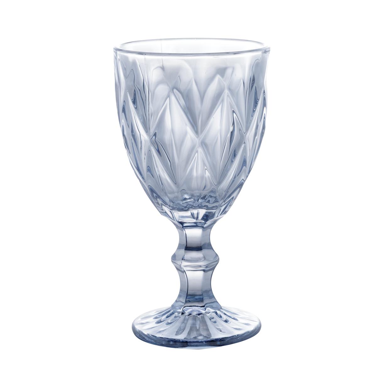 Conj. C/ 6 Taças P/ Água Diamond Azul Metalizado 325ml Lyor