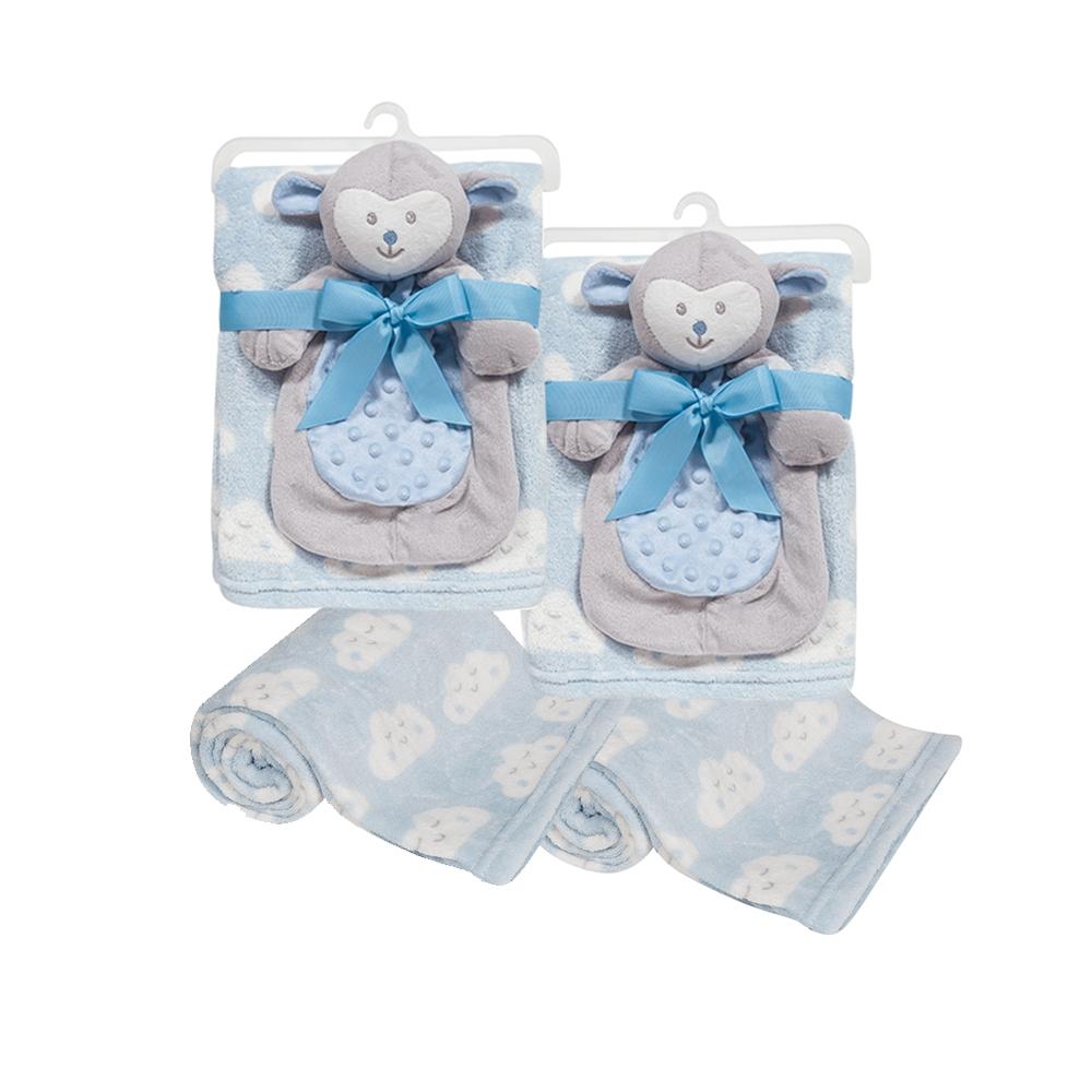 Conj Chá De Bebê Gêmeos - 2 Mantas C/ Naninha Azul Buba