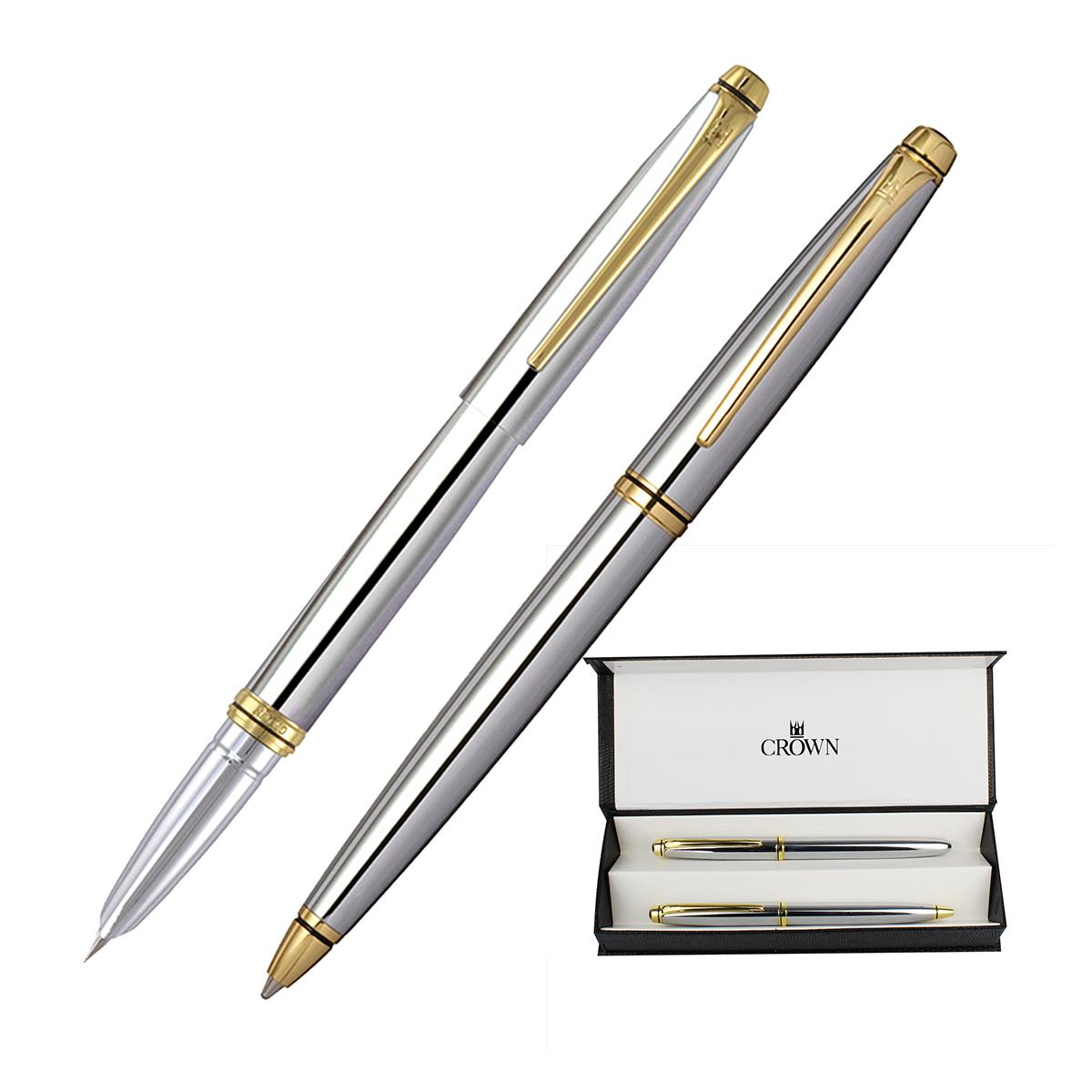 Conj. Crown Orient Prata Caneta Tinteiro + Esferográfica  YW49450S