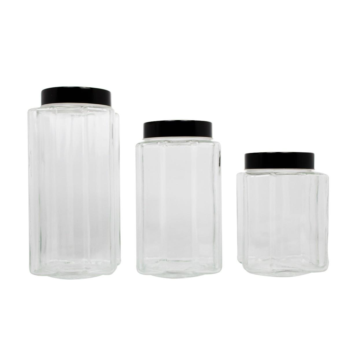 Conjunto 3 Potes De Vidro C/ Tampa De Acrílico Preta Lyor