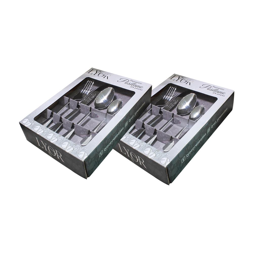 Conjunto C/ 2 Faqueiros 24 Peças De Aço Inox Positano Lyor