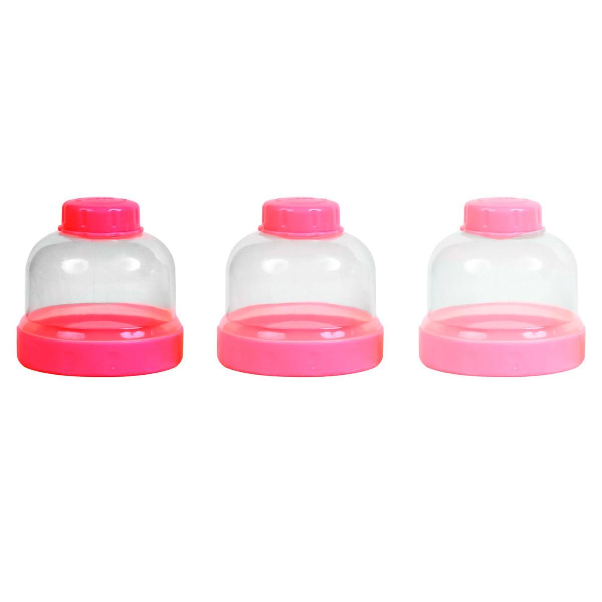 Conjunto C/ 3 Potes Rosa BabyGo Premium