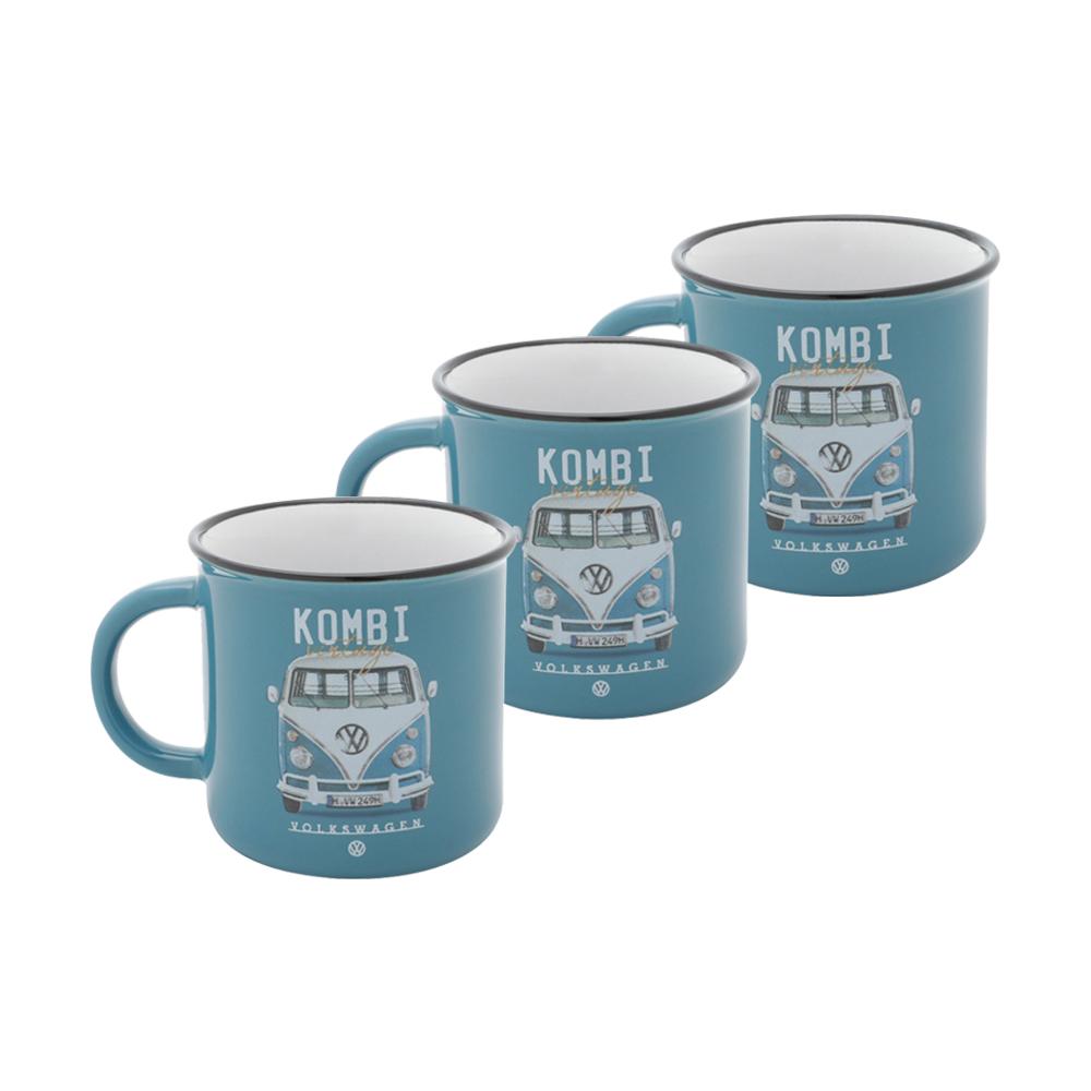 Conjunto Café Dos Colecionadores - 3 Mini Canecas Kombi Vintage Azul