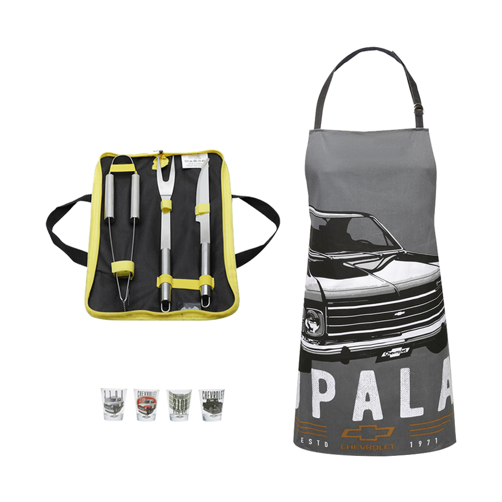 Conjunto Chá Bar Chevrolet - Avental, Kit Churrasco e Copos de Shot