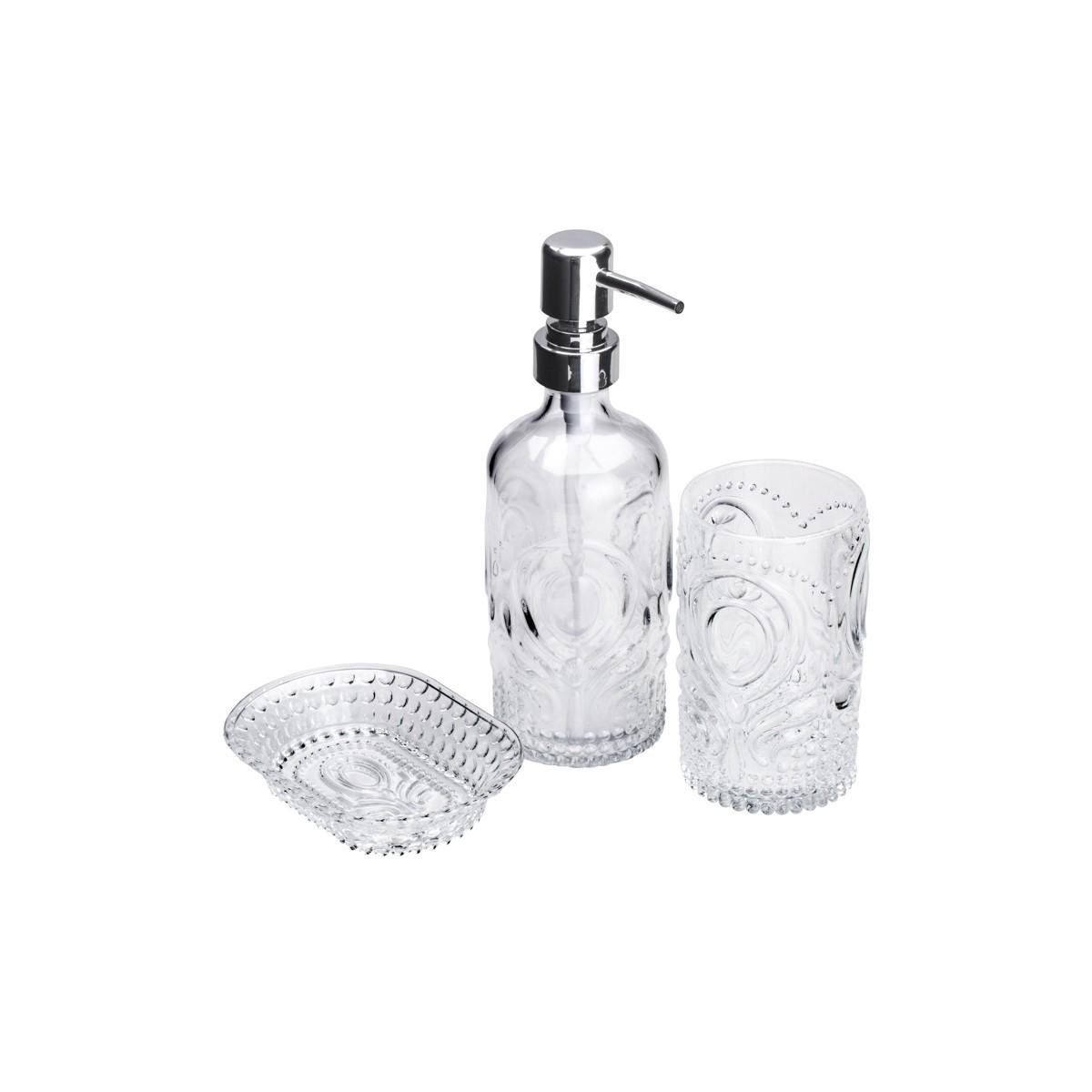 Conjunto P/ Banheiro C/ 3 Peças De Vidro Transparente Pierre Lyor