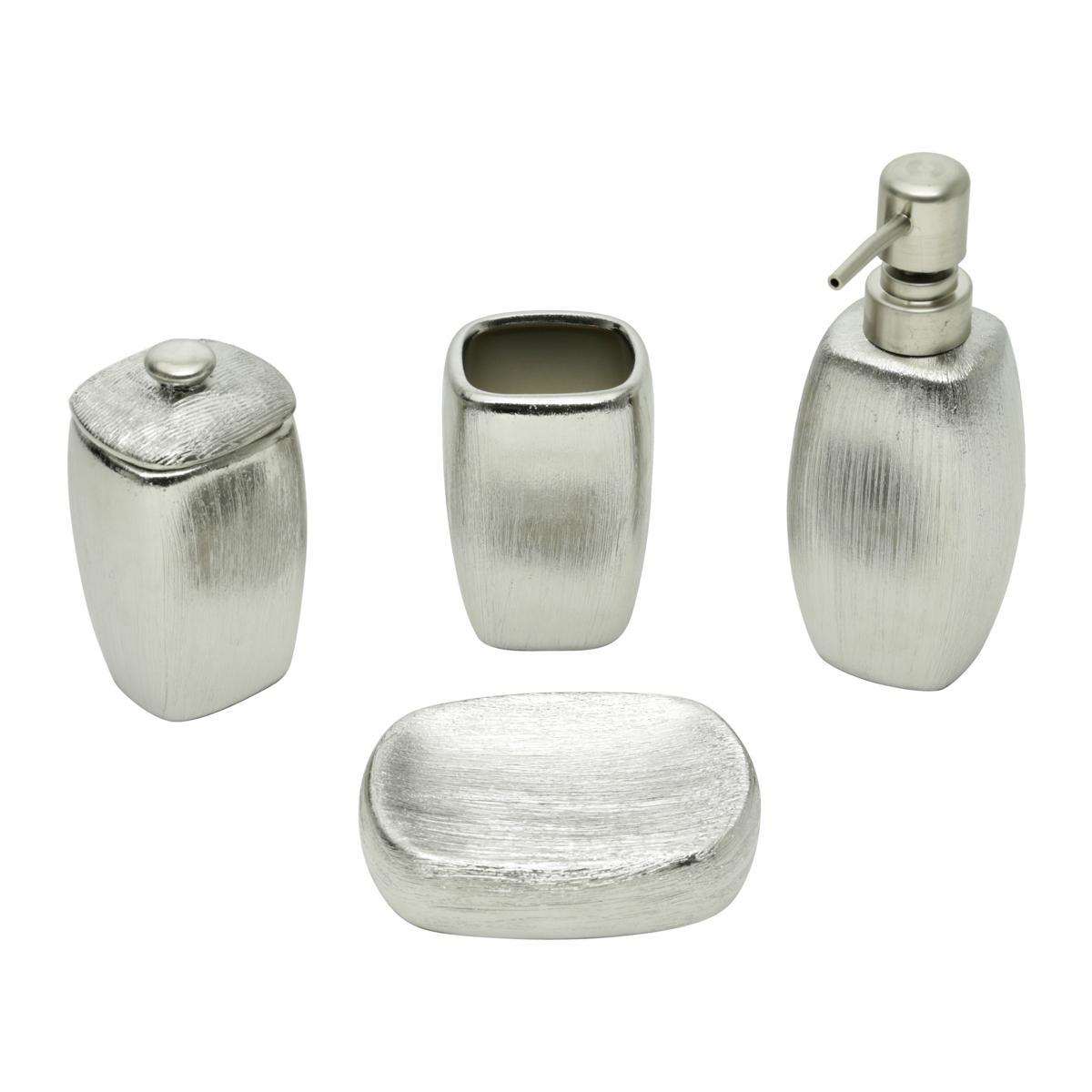 Conjunto P/ Banheiro C/ 4 Peças De Cerâmica Lux Silver