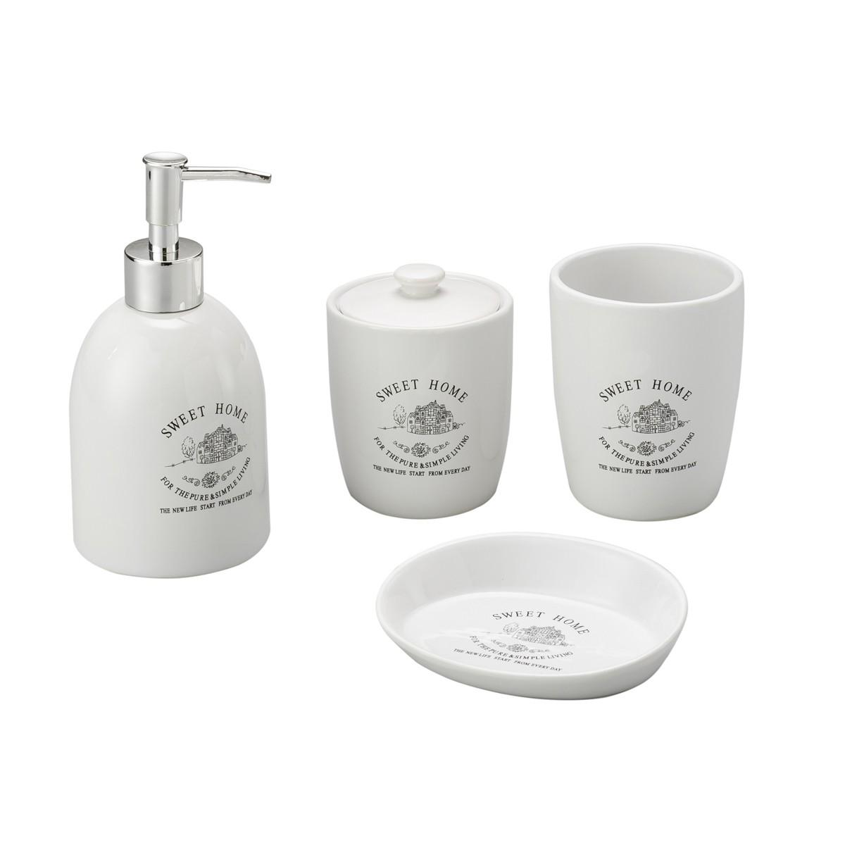 Conjunto P/ Banheiro C/ 4 Peças De Cerâmica Sweet Home Lyor