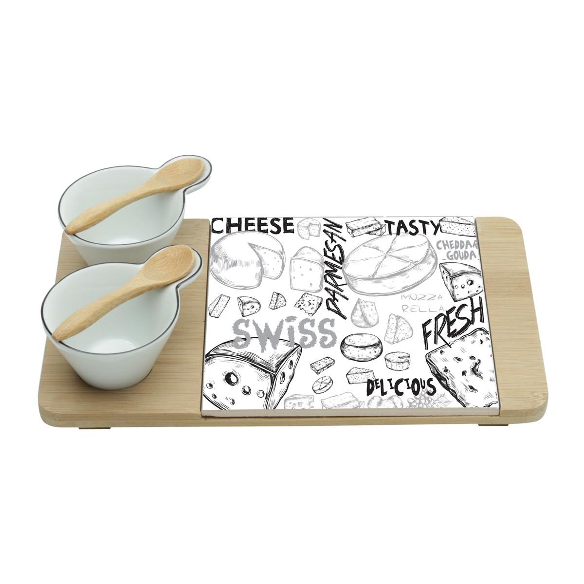 Conjunto P/ Queijo E Petiscos C/ 5 Peças Cheese Design Lyor