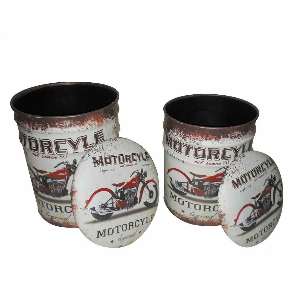 Conjunto Puff Baú Mod. Motorcyle est since 80