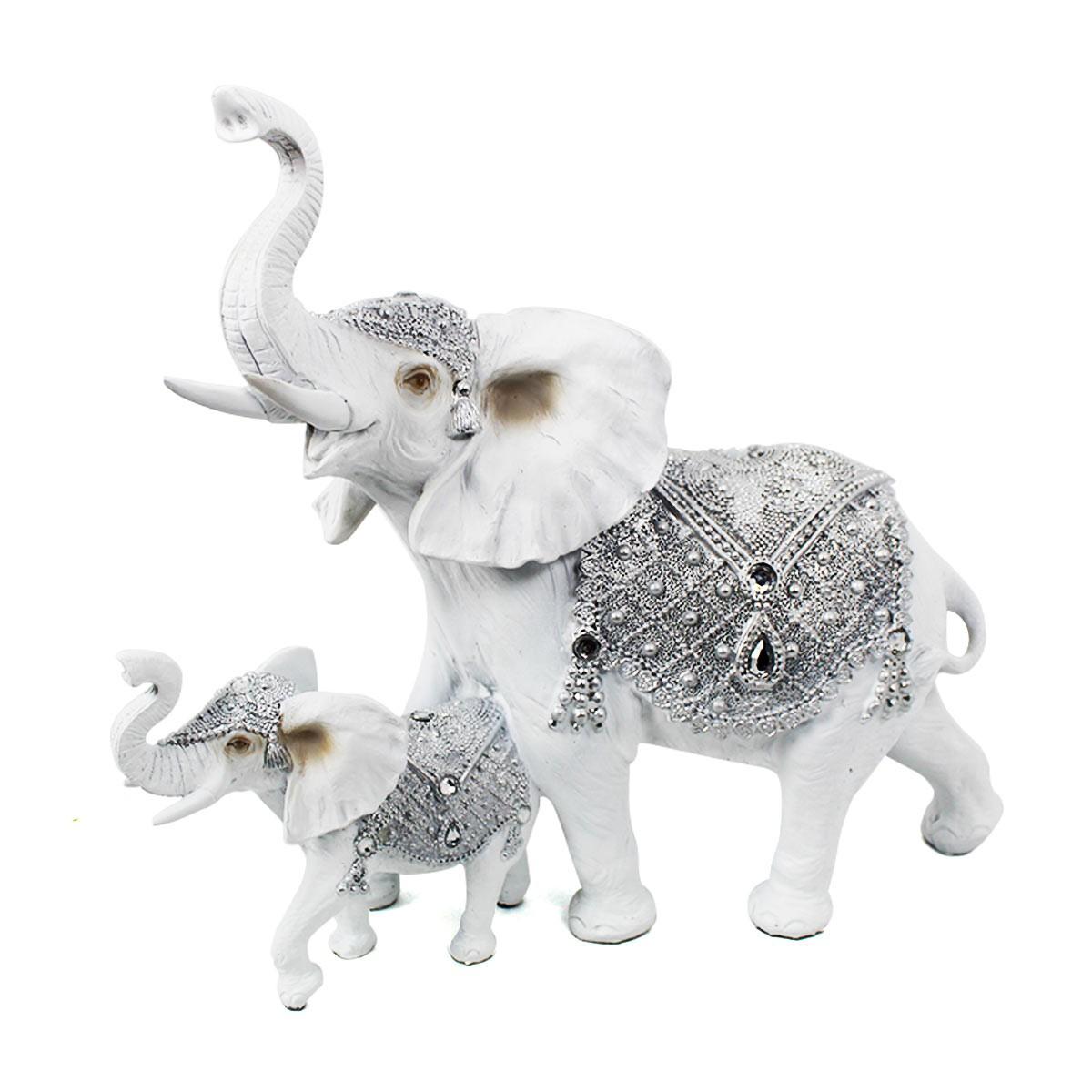 Duo Elefante Branco Decorativo Luxo Verito