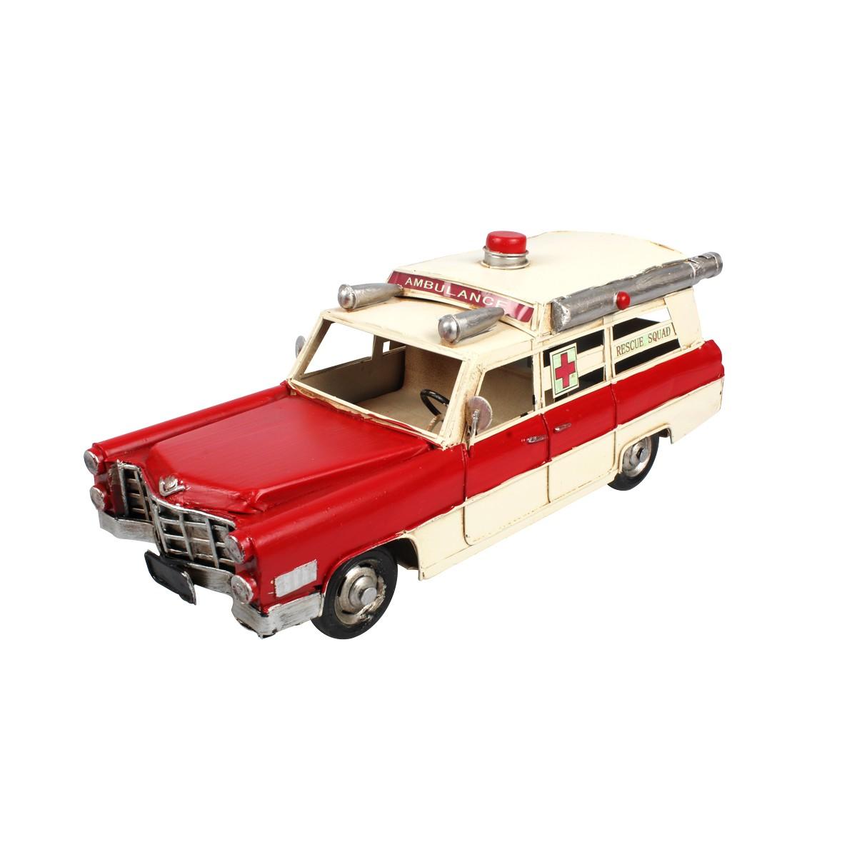Enfeite de Metal Retrô Cadillac 1966 Ambulância Rescue Squad