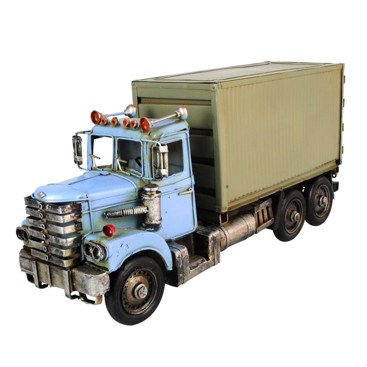 Enfeite de Metal Scania - Caminhão Baú De Lata Azul