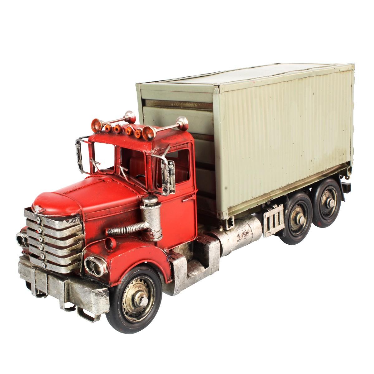 Enfeite de Metal Scania - Caminhão Baú De Lata Vermelho
