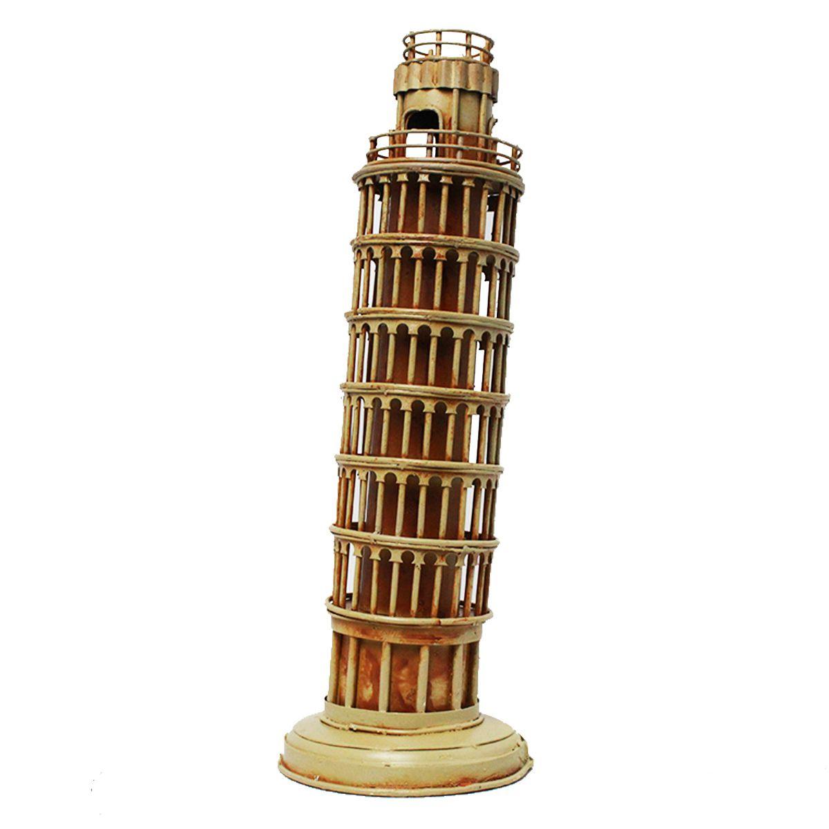 Enfeite de Metal Torre Inclinada de Pisa - Bege Envelhecido