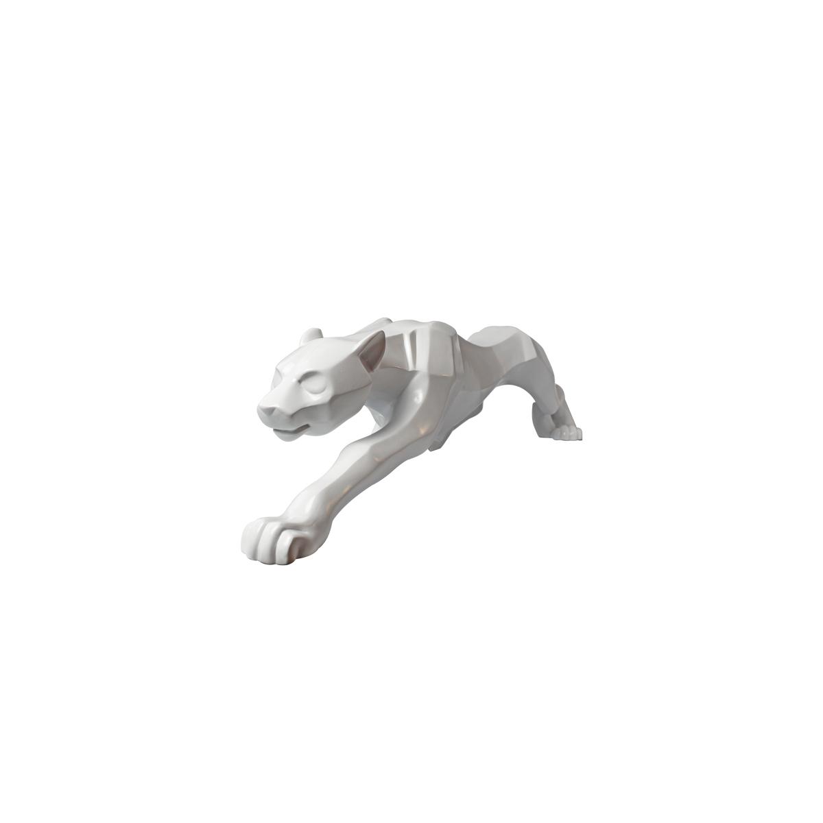 Enfeite Leopardo Decorativo Branco Em Cerâmica 37cm