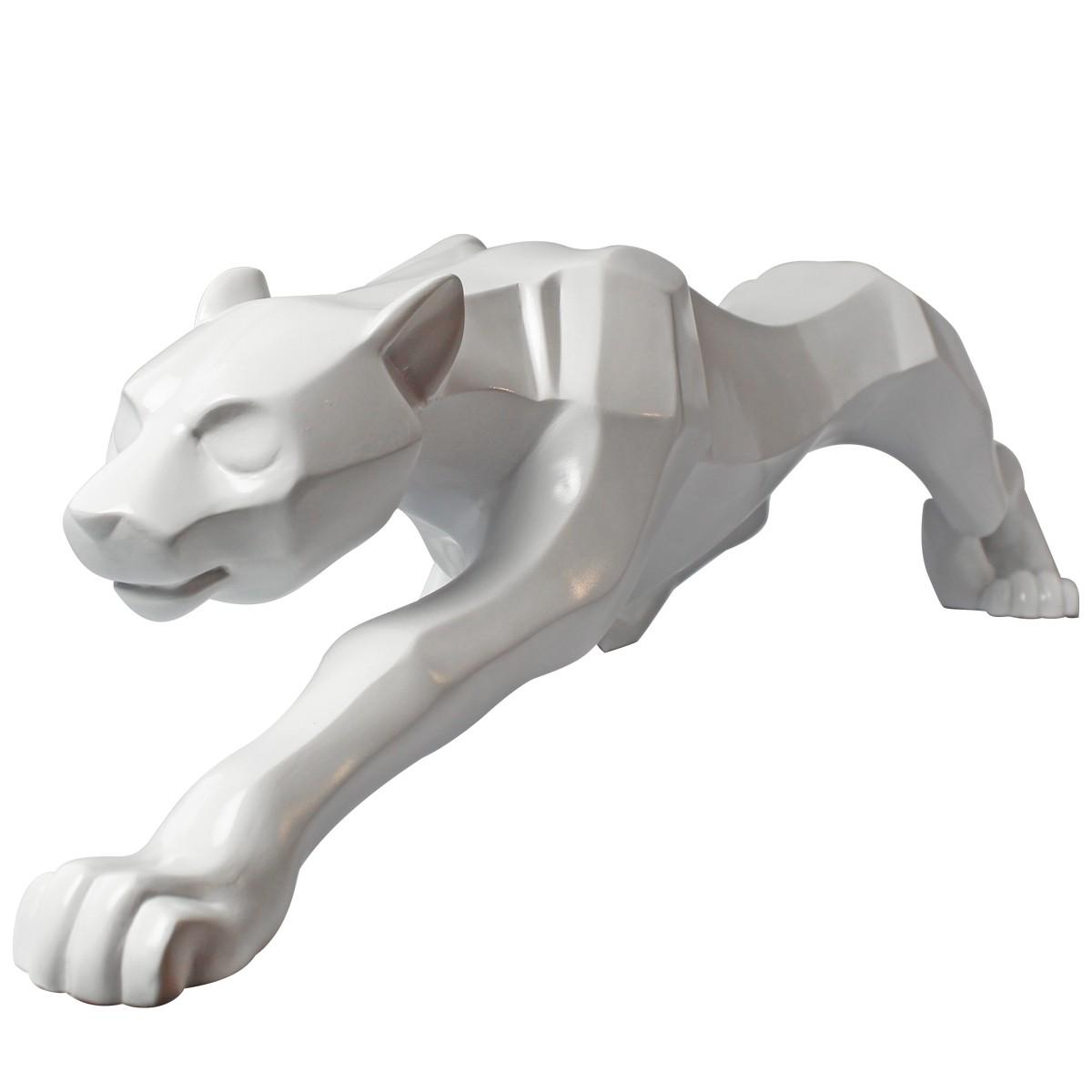 Enfeite Leopardo Decorativo De Cerâmica Branco 66cm Verito