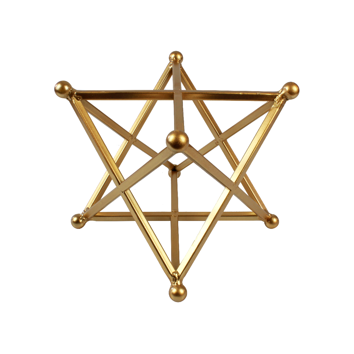 Escultura Decorativa Geométrica Em Metal Dourada Verito
