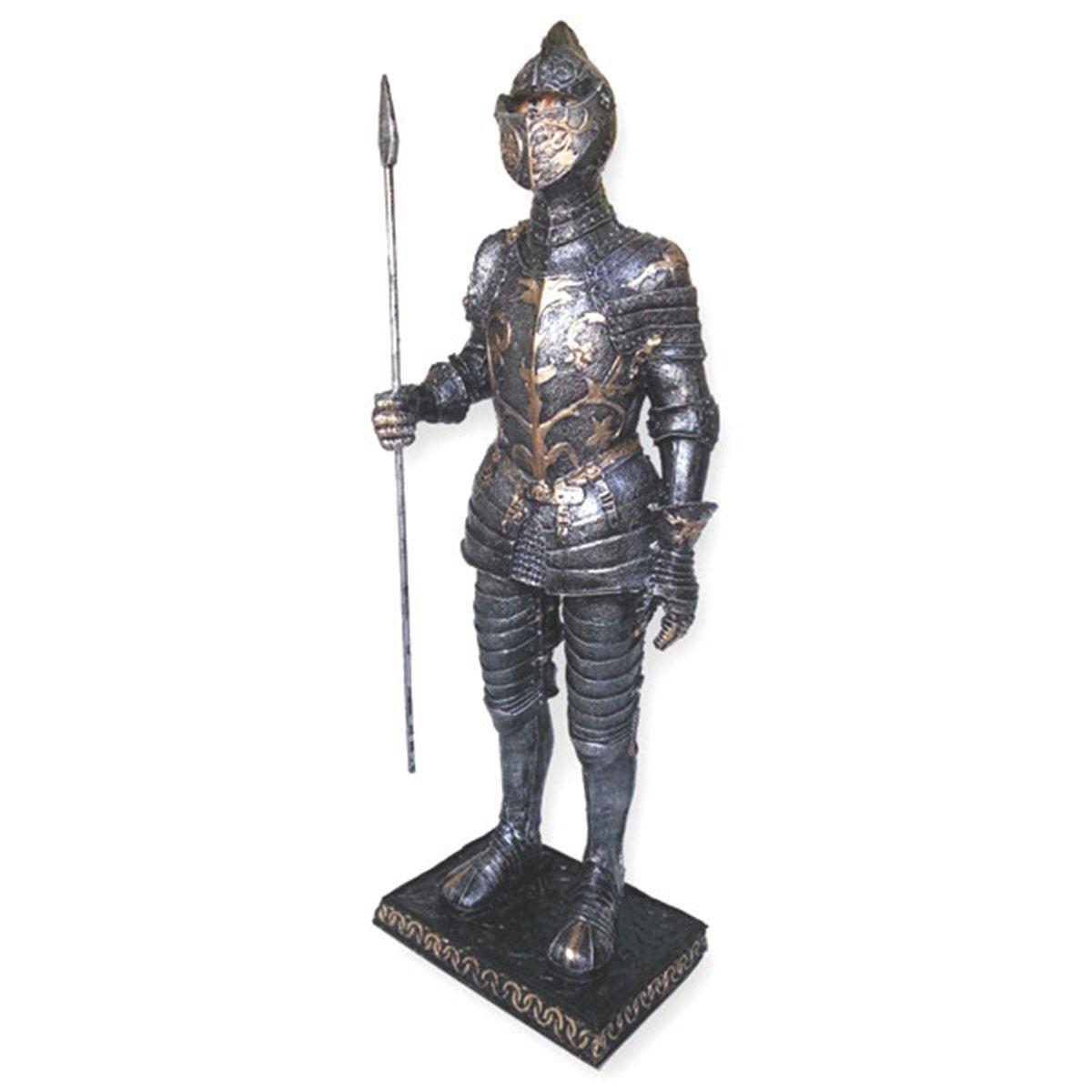 Estatua Guerreiro Medieval Silver e Gold c/ Lança 40cm