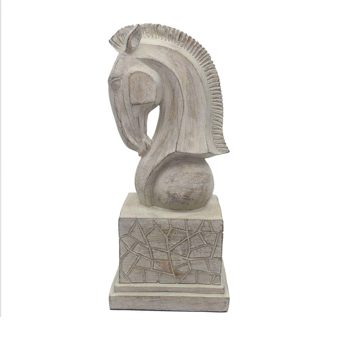 Estatua p/ Decoração Chess Busto Cavalo Luxo