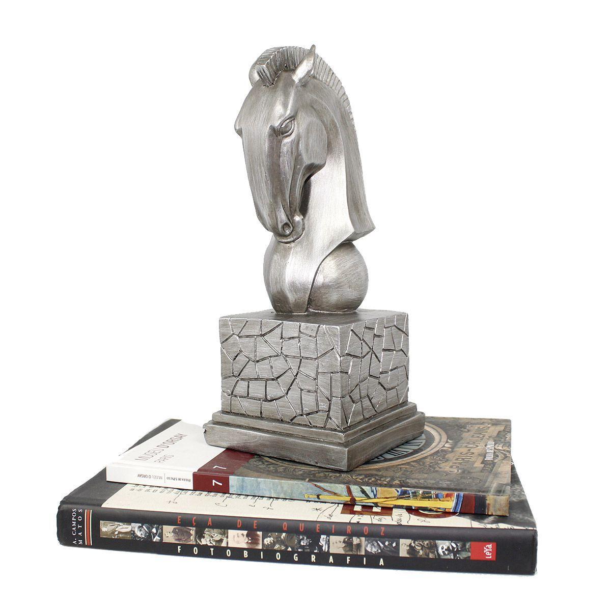 Estatua p/ Decoração Chess Busto Cavalo Luxo Prata