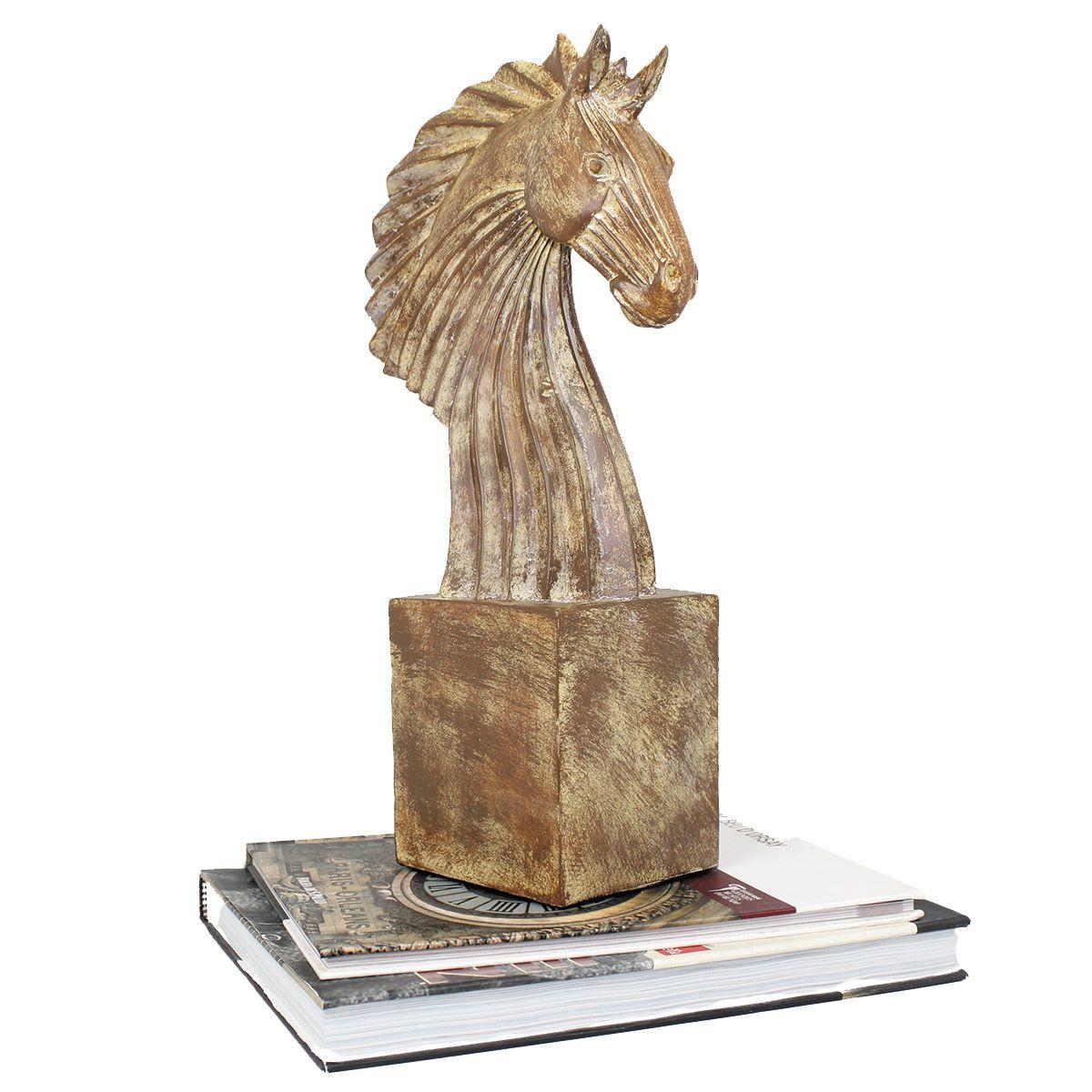 Estatua p/ Decoração Luxo Chess Busto Grande Cavalo Brown