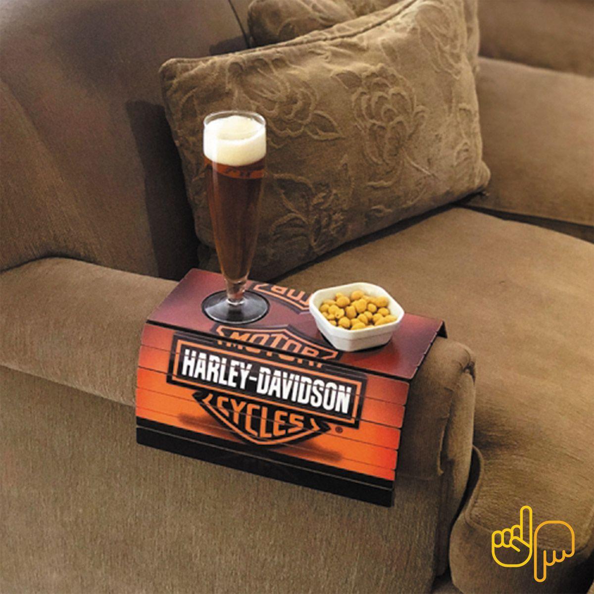 Esteira para sofá básica de madeira com estampa Harley Davidson