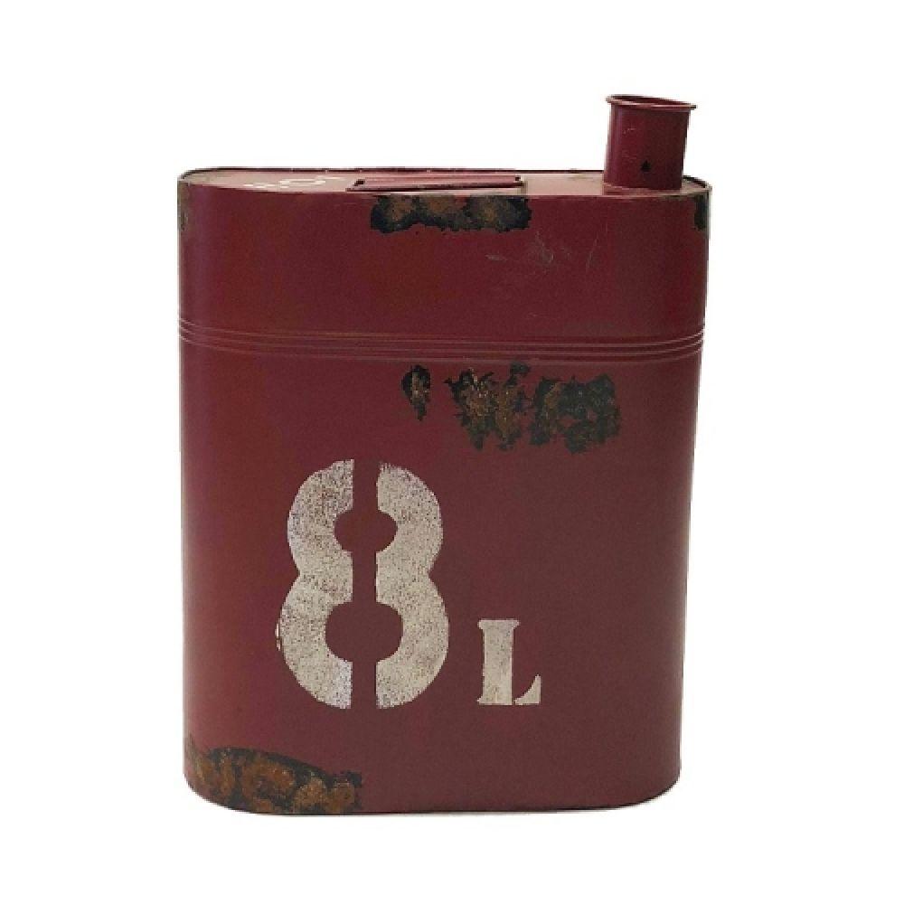 Galão de Gasolina Decorativo de Ferro Retrô 8 Litros Vermelho