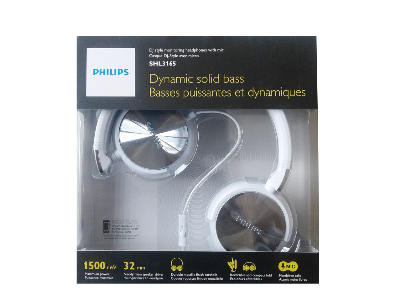Headphone Philips Headband DJ Branco SHL3165WT/00 C/ MIC.